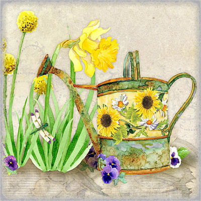 The Promise Of Spring - Watering Can Poster by Audrey Jeanne Roberts