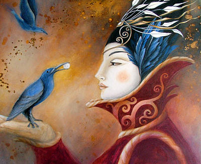 The Queen And Blue Crow Poster by Amanda Clark