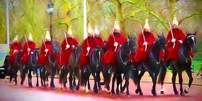 The Queens Life Guards On The Mall Poster by Sharon Lisa Clarke