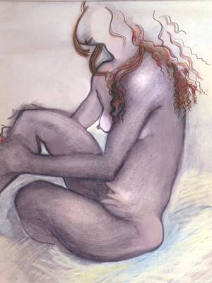 Poster featuring the drawing The Quiet Girl - Female Nude by Carolyn Weltman