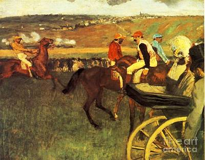 The Race Course Amateur Jockeys Poster by Degas