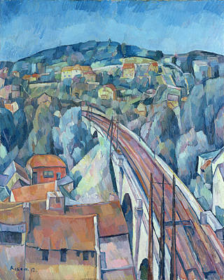 The Railway Bridge At Meulen Poster by Walter Rosam