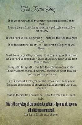 The Rain Song-led Zeppelin Poster
