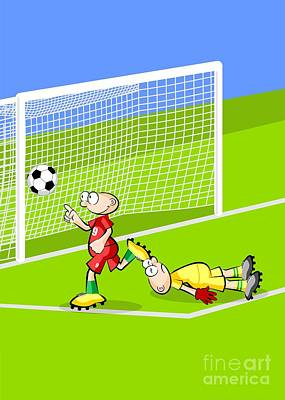 The Rapid Soccer Player Pointer Wins The Goalkeeper And Scores A Goal On The Opposing Fence Poster