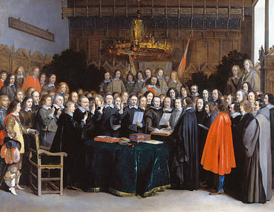 The Ratification Of The Treaty Of Munster, 15 May 1648 Poster by Gerard ter Borch