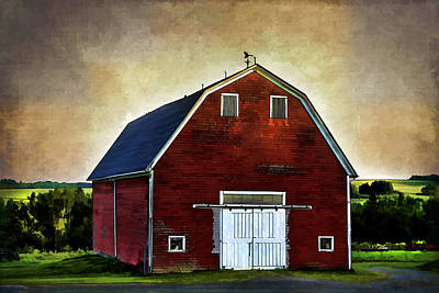 Poster featuring the mixed media The Red Barn by Gary Smith