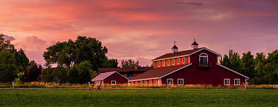 Poster featuring the photograph The Red Barn - Panoramic by TL Mair