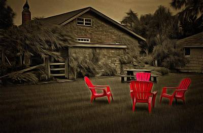 The Red Chairs In Neskowin Poster by Thom Zehrfeld