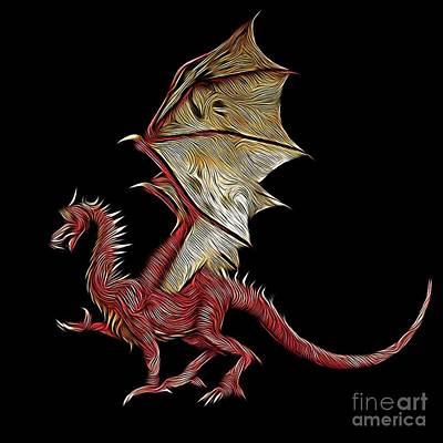 The Red Dragon, Digital Art By Mb Poster