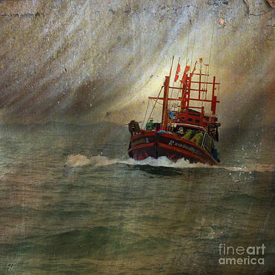 Poster featuring the photograph The Red Fishing Boat by LemonArt Photography