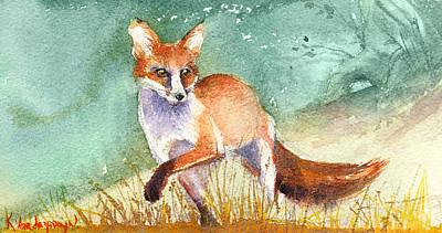 The Red Fox Poster by Kristina Vardazaryan