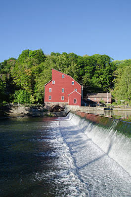 The Red Mill  Raritan River - Clinton New Jersey Poster by Bill Cannon