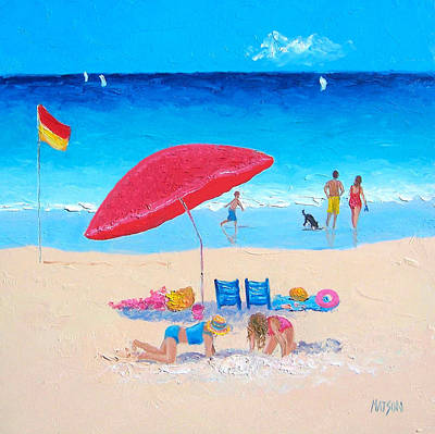 The Red Umbrella Beach Painting Poster