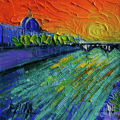 The Rhone River Palette Knife Oil Painting By Mona Edulesco Poster by Mona Edulesco