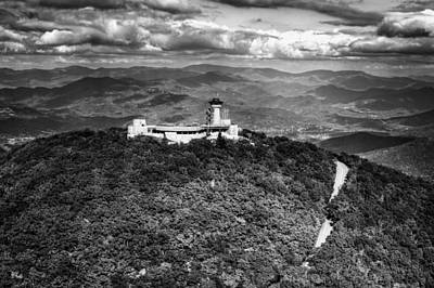 The Road Up To Brasstown Bald In Black And White Poster