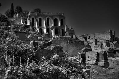Poster featuring the photograph The Roman Forum 001 Bw by Lance Vaughn
