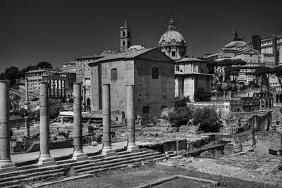 Poster featuring the photograph The Roman Forum 003 Bw by Lance Vaughn