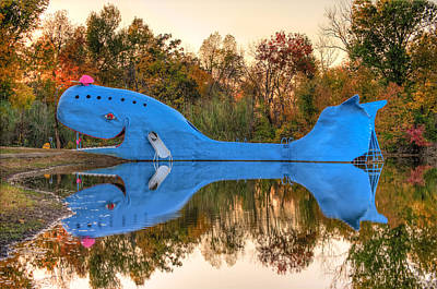 The Route 66 Blue Whale - Catoosa Oklahoma Poster by Gregory Ballos