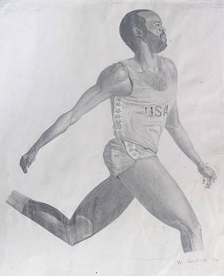 Poster featuring the drawing The Runner by Wil Golden