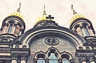 The Russian Church In Wiesbaden Poster by Sarah Loft