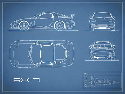 The Rx-7 Blueprint Poster by Mark Rogan