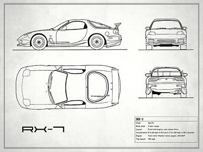 The Rx-7 Blueprint - White Poster by Mark Rogan