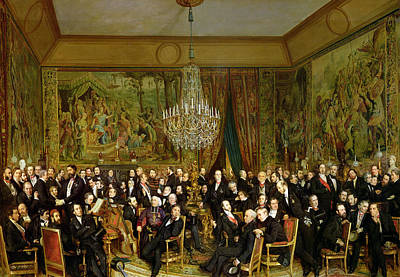 The Salon Of Alfred Emilien At The Louvre Poster by Francois Auguste Biard