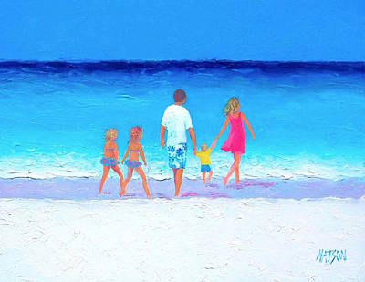 The Seaside Holiday - Beach Painting Poster by Jan Matson