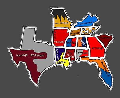 The Sec South Eastern Conference Teams Poster by Michael Garber