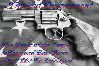 Poster featuring the digital art The Second Amendment Black And White by JC Findley