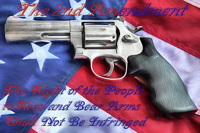 Poster featuring the digital art The Second Amendment by JC Findley