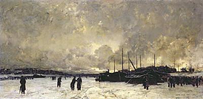 The Seine In December Poster by Luigi Loir