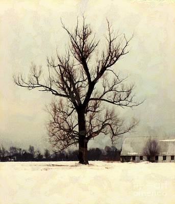 Poster featuring the photograph The Sentinel - Lone Winter Tree by Janine Riley