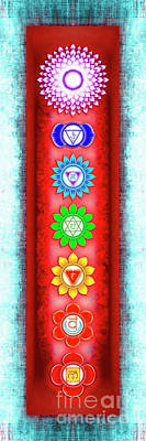 The Seven Chakras - Series 6 Artwork 3 Ice Blue Poster by Dirk Czarnota