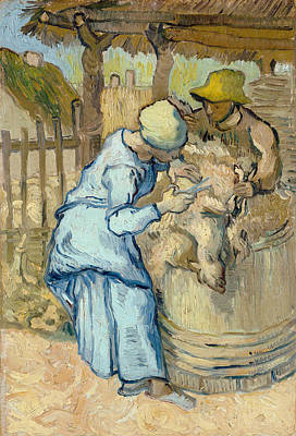 The Sheep-shearer, After Millet Poster