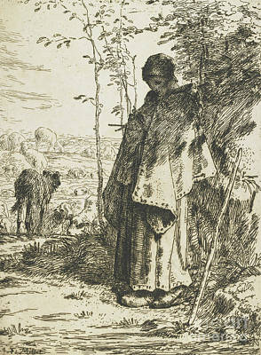 The Shepherdess Knitting, 1862 Poster by Jean-Francois Millet