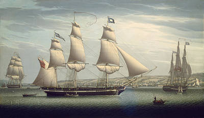 The Ship -favorite-maneuvering Off Greenock Poster by Robert Salmon