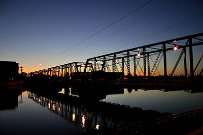 The Sixth Street Bridge At Sunset Poster