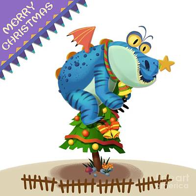 The Sloth Dragon Monster Comes To Wish You Merry Christmas Poster by Next Mars