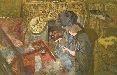 The Small Drawing-room - Mme Hessel At Her Sewing Table Poster