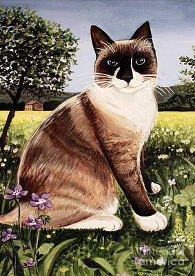Poster featuring the painting The Snowshoe Cat by Elizabeth Robinette Tyndall