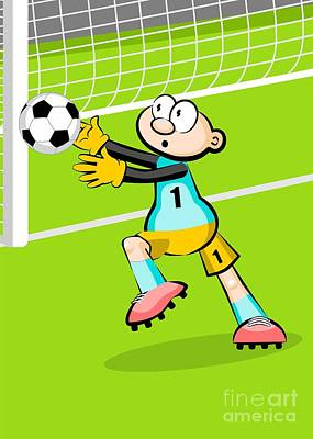 The Soccer Goalkeeper Stretches His Arms To Catch The Ball Poster