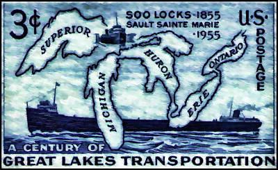 The Soo Locks Stamp Poster