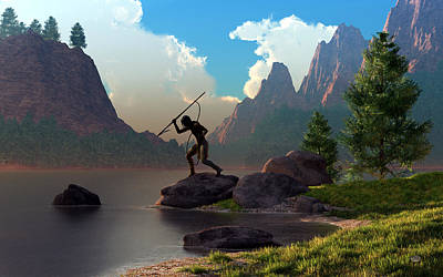 Poster featuring the digital art The Spear Fisher by Daniel Eskridge