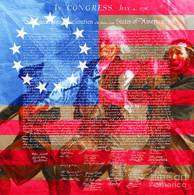 The Spirit Of 76 The American Flag And The Declaration Of Independence 20150704square Poster by Wingsdomain Art and Photography