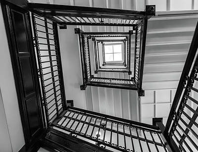The Staircase Of Virginia Capitol Bw Poster