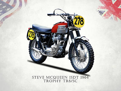The Steve Mcqueen Isdt Motorcycle 1964 Poster by Mark Rogan