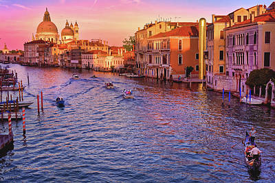 The Sun Is Setting In Venice Poster