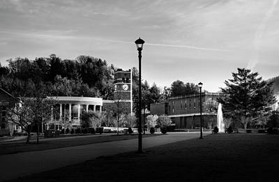 The Sun Rises On Western Carolina University In Black And White Poster