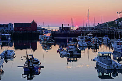 The Sun Rising On Rockport Harbor And Motif Number 1 Poster